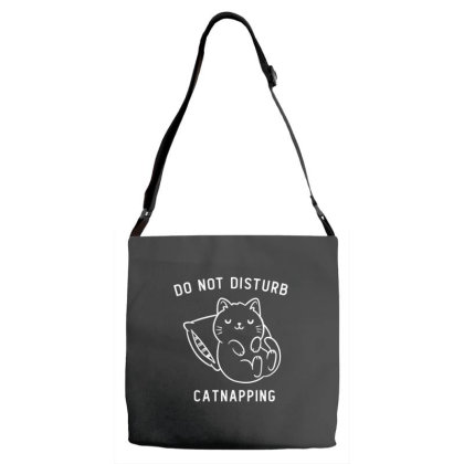 Do Not Disturb, Catnapping Funny Cute Gift Adjustable Strap Totes Designed By Koalastudio