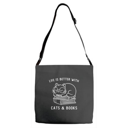 Life Is Better With Cats & Books Funny Cute Gift Adjustable Strap Totes Designed By Koalastudio