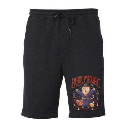 Black Meowgic Cute Evil Cat Magic Fleece Short Designed By Eduely