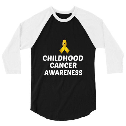 Childhood Cancer Awareness White 3/4 Sleeve Shirt Designed By Perfect Designers