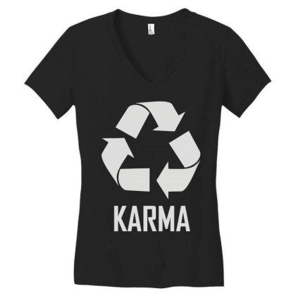 Karma Women's V-neck T-shirt Designed By Enjang
