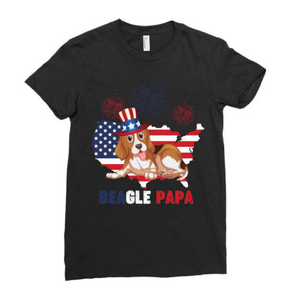 Beagle  4th Of July Ladies Fitted T-shirt Designed By Vip.pro123