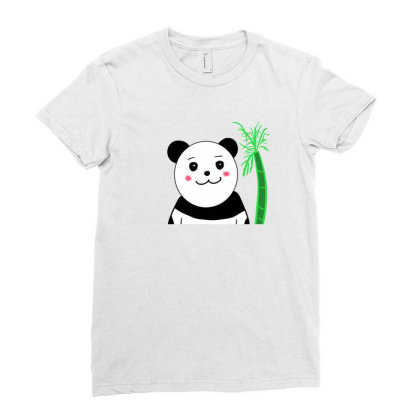 Cute Panda Ladies Fitted T-shirt Designed By Okintarin