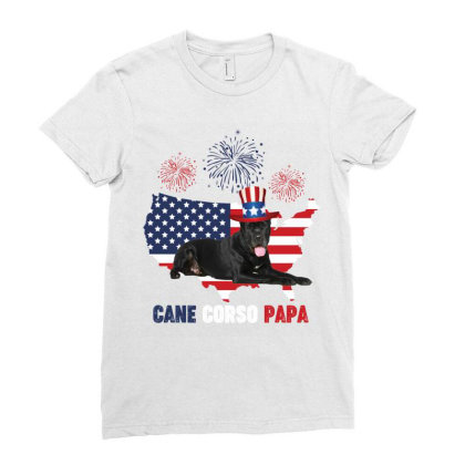 Cane Corso  Papa American Flag  4th Of July Ladies Fitted T-shirt Designed By Vip.pro123