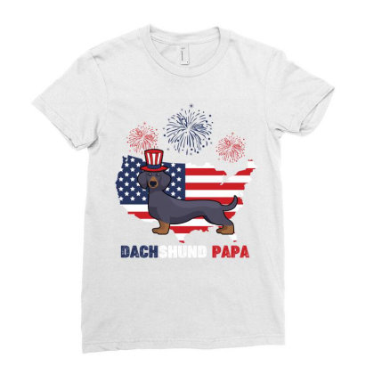 Dachshund Papa American Flag 4th Ofjuly Ladies Fitted T-shirt Designed By Vip.pro123