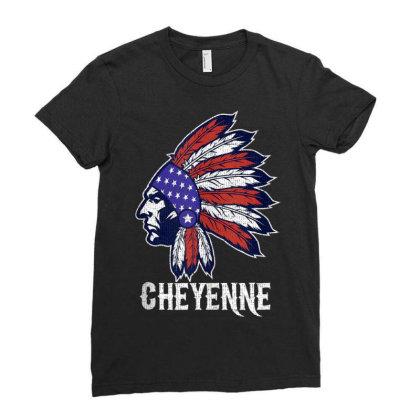 Cheyenne Native American Flag Pride Headdress Ladies Fitted T-shirt Designed By Kakashop