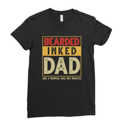 Bearded Inked Dad Ladies Fitted T-shirt Designed By Sengul