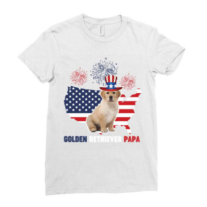 Golden Retriever Papa American Flag 4th Of July Ladies Fitted T-shirt Designed By Vip.pro123