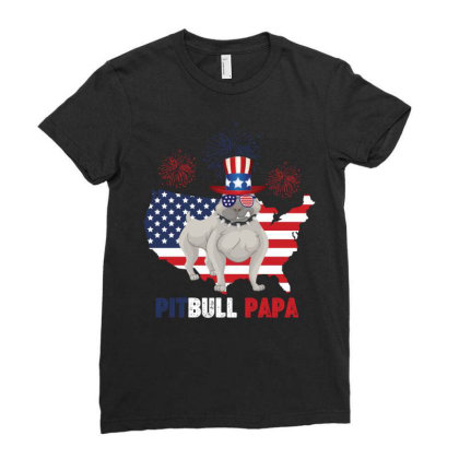 Pitbull  Papa American Flag Ladies Fitted T-shirt Designed By Vip.pro123