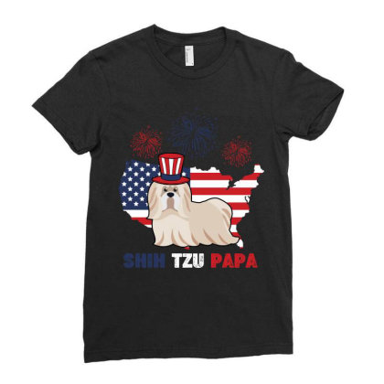 Shih Tzu Papa American Flag 4th Of July Ladies Fitted T-shirt Designed By Vip.pro123