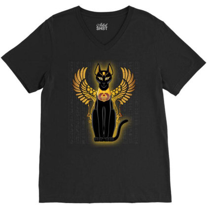 Egypt Cat Napoleon Wings V-neck Tee Designed By Nvlinh