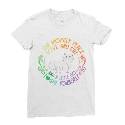 I Am Mostly Peace Love And Cat Ladies Fitted T-shirt Designed By Vip.pro123