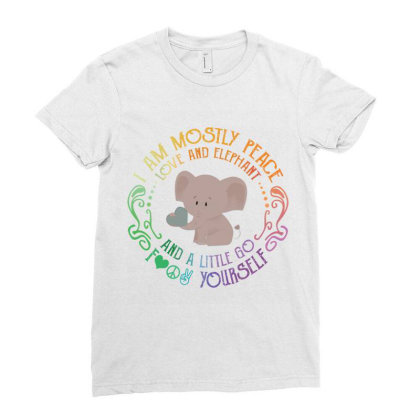I Am Mostly Peace Love And Elephant Ladies Fitted T-shirt Designed By Vip.pro123