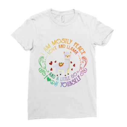 I Am Mostly Peace Love And Llama Ladies Fitted T-shirt Designed By Vip.pro123