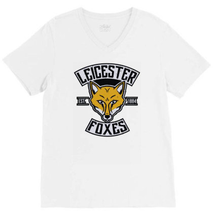 Leicester Foxes V-neck Tee Designed By Fanshirt