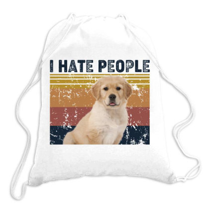 I Hate People Retro Vintage Golden Retriever Drawstring Bags Designed By Vip.pro123