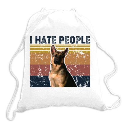 I Hate People Retro Vintage German Shepherd Dog Drawstring Bags Designed By Vip.pro123