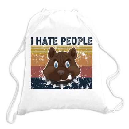 I Hate People Retro Vintage Pitbull Drawstring Bags Designed By Vip.pro123