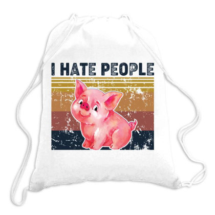I Hate People Retro Vintage Pig Drawstring Bags Designed By Vip.pro123