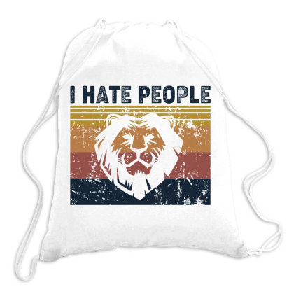 I Hate People Retro Vintage Lion Drawstring Bags Designed By Vip.pro123