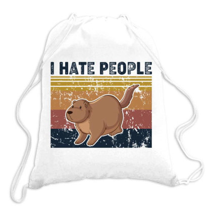 I Hate People Retro Vintage Otter Drawstring Bags Designed By Vip.pro123