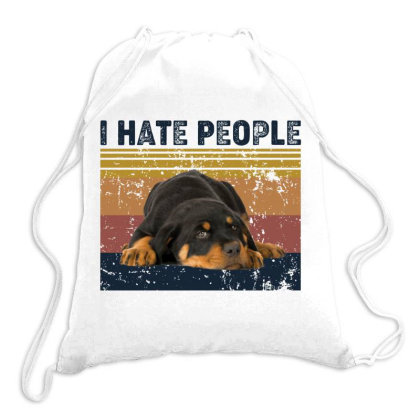 I Hate People Retro Vintage Rottweiler Chua Drawstring Bags Designed By Vip.pro123