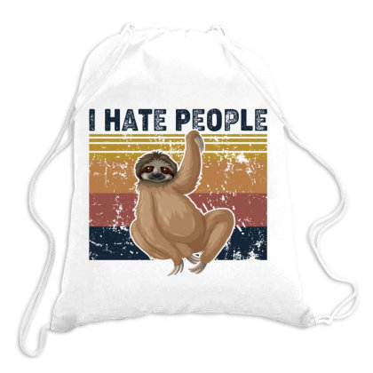 I Hate People Retro Vintage Sloth (1) Drawstring Bags Designed By Vip.pro123