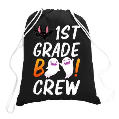 1st Grade Boo Crew Drawstring Bags Designed By Badaudesign