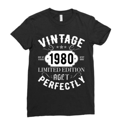 Born In 1980 Womens Vintage 1980 40th Birthday Ladies Fitted T-shirt Designed By Badaudesign