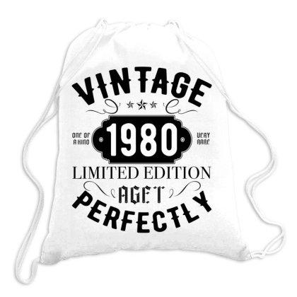 Born In 1980 Womens Vintage 1980 40th Birthday Drawstring Bags Designed By Badaudesign