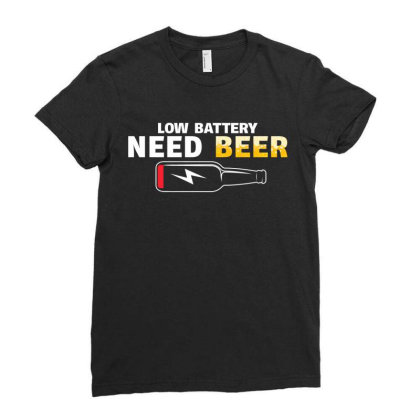 Low Battery Need Beer Ladies Fitted T-shirt Designed By Badaudesign