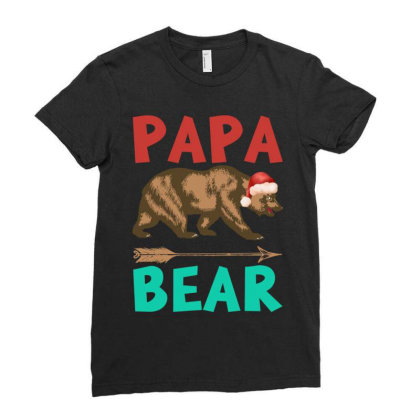 Papa Bear Christmas Ladies Fitted T-shirt Designed By Badaudesign
