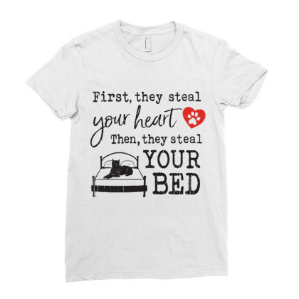 Cane Corso  First They Steal Your Heart Then They Steal Your Bed Ladies Fitted T-shirt Designed By Vip.pro123