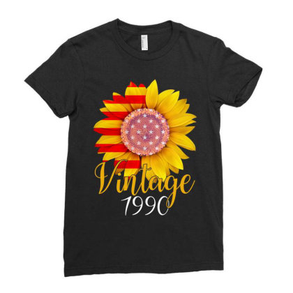 Sunflower Vintage 1990 Ladies Fitted T-shirt Designed By Badaudesign