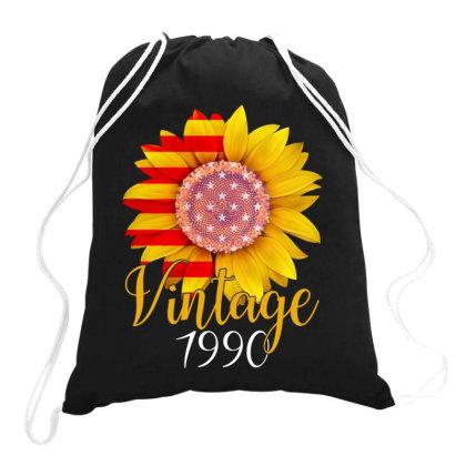 Sunflower Vintage 1990 Drawstring Bags Designed By Badaudesign