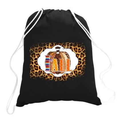 Fall Pumpkin Leopard Drawstring Bags Designed By Badaudesign