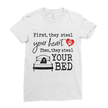 Poodle  First They Steal Your Heart Then They Steal Your Bed Ladies Fitted T-shirt Designed By Vip.pro123