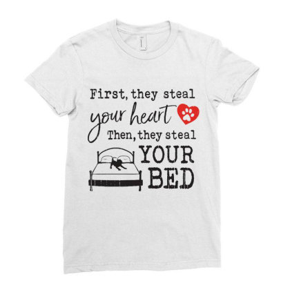 Pitbull  First They Steal Your Heart Then They Steal Your Bed Ladies Fitted T-shirt Designed By Vip.pro123