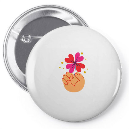 Flower Holding Pin-back Button Designed By Designsbymallika