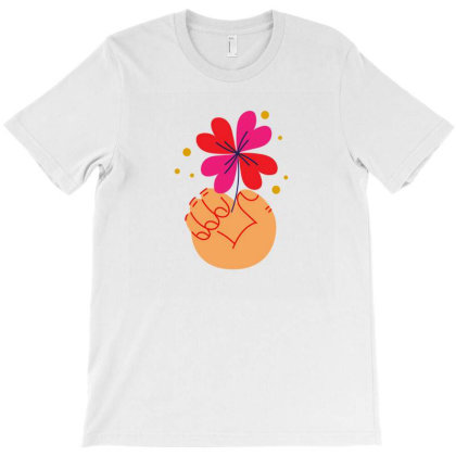 Flower Holding T-shirt Designed By Designsbymallika