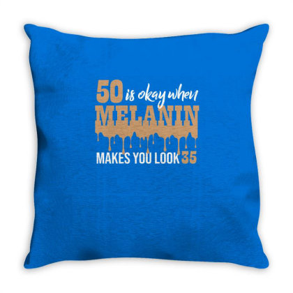50 Looks 35 With Melanin Poppin Throw Pillow Designed By Cogentprint