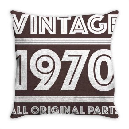 Vintage 1970 Birthday Throw Pillow Designed By Laravirna