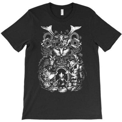 Samurai Cat T-shirt Designed By Glitchygorilla