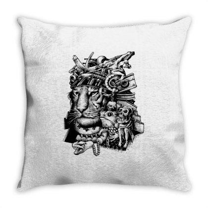 Samurai Tiger Throw Pillow Designed By Glitchygorilla