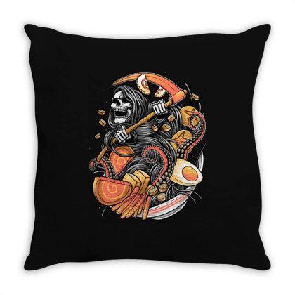 Ramen Reaper Throw Pillow Designed By Glitchygorilla