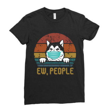 Alaskan Malamute Ew People Dog Wearing A Face Mask Vintage Ladies Fitted T-shirt Designed By Vip.pro123