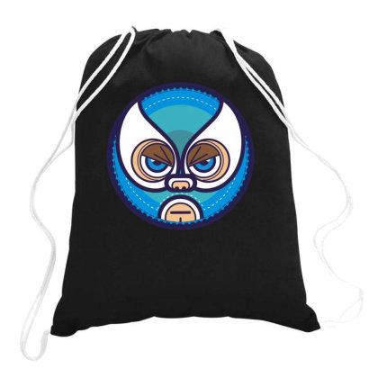 Lucha Libre   Blue Drawstring Bags Designed By Enjang