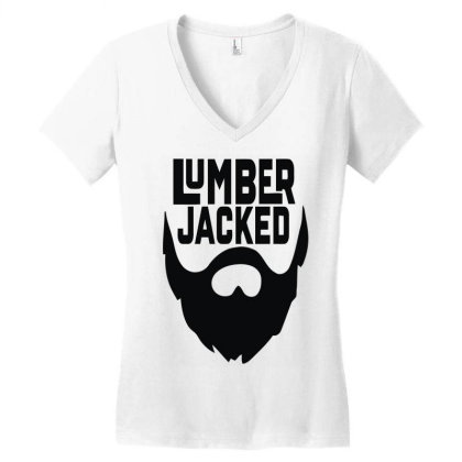 Lumber Jacked Women's V-neck T-shirt Designed By Enjang