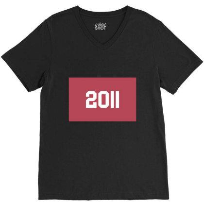 2011 Shirt, Man's / Women's Black Shirt, Printed Tee, Fashion Top... V-neck Tee Designed By Word Power