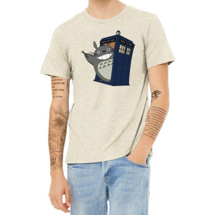 Totoro Meets The Tardis Heather T-shirt Designed By Simponie